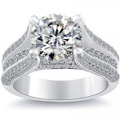 4.35 Carat I-VVS2 Certified Natural Round Diamond Engagement Ring 18k White Gold
