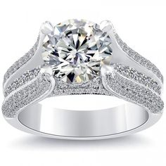 4.35 Carat I-VVS2 Certified Natural Round Diamond Engagement Ring 18k White Gold