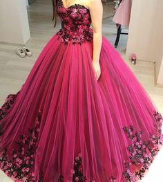 Cheap Prom Dresses 2017 Modest Quinceanera Dress,Floral Prom Dress,Fashion Prom Dress,Sexy Party Dress,Custom Made Evening Dress