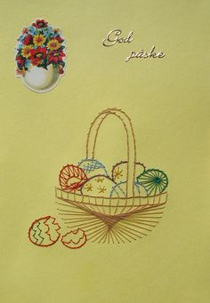Easter Egg Basket, Easter Eggs, Paper Embroidery, Stitch, Pattern, Cards, Easter, Ornaments, String Heart