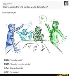 Plot twist: INTP and INTJ have already sprung their plan while the ENTJ and ENTP were talking and are waiting for the explosions to start Intp Personality Type, 16 Personalities, Myers Briggs Personalities, Intj Intp, Introvert, Personalidad Infp, L Death Note, You Draw, Psychology Facts