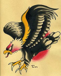 Traditional Tattoo Flash | Traditional Eagle Tattoo Flash Watercolor Painting | Flickr - Photo ...