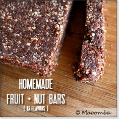 13 Flavors (including Maoomba Mayan Chocolate) of Homemade Larabar-like Fruit and Nut Bars - all Paleo. Yummy!