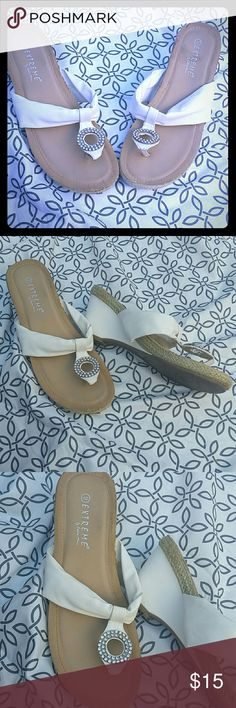 White Wedge Bing Sandals by Eddie Mars sz 9 White thong wedge sandals. Size 9. Extreme by Eddie Mars. White pleather upper with blind circle embellish. White Wedge heel in the same pleather. Rubber sole and raffia edging. Great shoe for summer! Eddie Mars Shoes Sandals