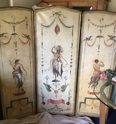 3 Panel Vintage Stunning, Folding Screen Room Divider. Painted Neo Classic Style  | eBay