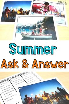 Use these summer themed ask and answer photo language prompts to practice describing, inferring and answering WH questions. They're great for end of the school year, speech therapy and for summer school or extended school year programs (ESY). This set is perfect for autism classes, speech & language groups, centers, stations, morning meeting, direct instruction and self-contained programs. Click to print and go now! Autism Activities, Autism Resources, Reading Comprehension Skills, Reading Skills, Summer School Programs, Direct Instruction, Wh Questions, Special Education Classroom, Teaching Materials
