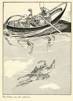 """""""The Prince sees the reflection."""" Illustration by Willy Pogány from """"Turkish Fairy Tales"""" collected and translated by Ignácz Kunos. (1913?)"""
