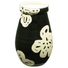 Bitossi Abstract Floral Black and White Hand Glazed Ceramic Vase at 1stdibs