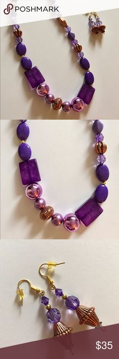 🆕Listing - Beaded necklace & earring set ❌No trades  - ❌ ALL sales are final 💗Be courteous no low balls 💌Reasonable offers accepted 📦 Ships out same day or next - depending what time of day you ordered ⬇️Have a question? Leave a comment 😀  Product Info📝 🔗Colors: Purple/Gold 🔗Size: One Size Jewelry Necklaces