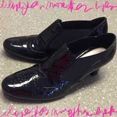 Black Patent Leather Bootie Classy !!!  This shoes are extra compy and great with your work slacks or jeans. They are slide on made easy the the stretchy band on the side as shown in pic. Excellent condition even tho they have been worn a few times. Ros Hommerson Shoes