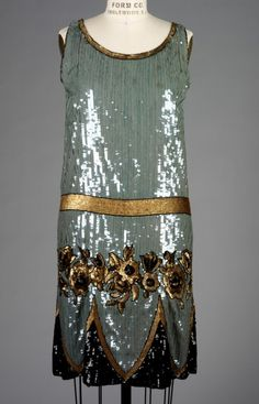 1925 Anna and Laura Tirocchi silk cellophane, sequin, jet bead, net embroidered dress.