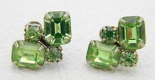 VTG Gold Tone Green Rhinestone Cluster Screw Back Earrings