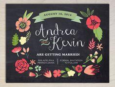 Rustic Boho Floral Save the Date Wedding Invitation Postcards (DIY Printable Digital File or Physical Item)