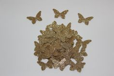 2015 Cinderella Inspired Party Decorations; Gold Glitter Butterflies; Butterfly Confetti; Butterfly Die Cuts; Table Party Decor