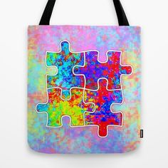 Autism Colorful Puzzle Pieces Tote Bag by Jan4insight > SOLD a tote bag 5.16.16