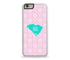 South Carolina STATE LOVE Monogram Personalized iPhone Case, Monogram Personalized Galaxy Case
