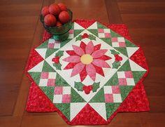 Christmas Flower pattern made with Island Batik Spoolin Around fabrics by FunThreads Designs