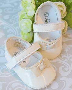 9cb1316992e02 Sevva Rita Baby Girls Ivory Patent Pram Shoes with Bow