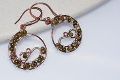 handmade wire earrings | handmade wire wrapped copper hoop earrings with unakite