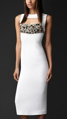 Burberry Prorsum Gem Embroidery Crêpe Dress