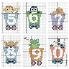 TREN - Letras y números Cross Stitch Letters, Cross Stitch Baby, Cross Stitching, Cross Stitch Embroidery, Letters And Numbers, Needle And Thread, Stitch Patterns, Couture, Kids Rugs