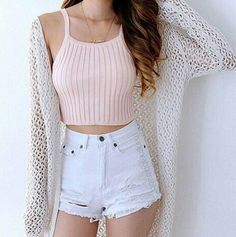 Are you searching for outfits for summer? Look no further in light of the fact that here are the 50 best of the cute summer outfits to wear this summer. Vest Outfits, Mode Outfits, Fashion Outfits, Crop Top Outfits, Fashion Ideas, Fashion 2018, Fashion Trends, Dress Fashion, Crop Top And Shorts