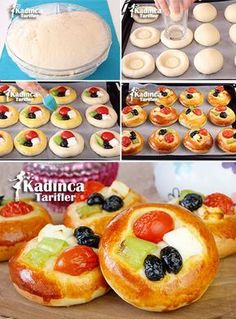 Yumuşacık Pizza Poğaça recipe how? - Female recipes - Delicious, practical and exquisite . - Yumuşacık Pizza Poğaça recipe how? – Female recipes – Delicious, practical and exquisite re - Pizza Donut Recipe, Donut Recipes, Pastry Recipes, Pizza Recipes, Cake Recipes, Pogaca Recipe, Pizza Pastry, Bread Shaping, Yummy Food