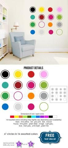 Circles Wall Decal Sticker - Circles Decal for Walls - Circles Decal for…