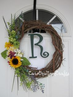 Personalized Monogram Grapevine Wreath in greens and yellows