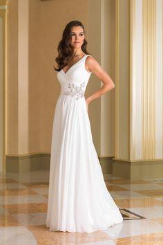 Justin Alexander  1920s Circular Cut Chiffon Bridal Gown