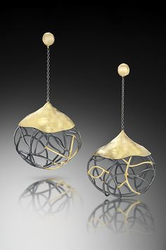 Mod Pod Gold created by artist Beverly Tadeu - one of a kind 18k gold & oxidized silver earrings. On Artful Home #flashgallery