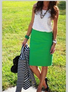 Kelly green skirt + navy striped blazer: Pinterest plagiarism on Always Carry a Cardigan