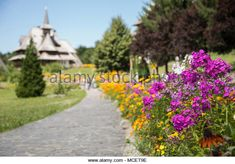Monastery alley surrounded by colorful and beautiful flowers .