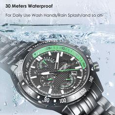 BOYZHE WL010-G Brand Luminous Waterproof Business Watch black&green Online Shopping   Tomtop