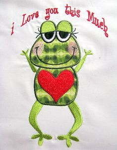 Froggy Love 01 Machine Applique Embroidery Design 5x7 by KCDezigns, $3.00
