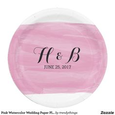 Pink Watercolor Wedding Paper Plates