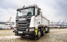 Download wallpapers Scania R450 XT, 4k, 2018 truck, 8x4, tipper, trucks, new R450, Scania