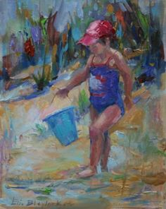 LITTLE GIRL IN A RED CAP AT THE BEACH BY ELIZABETH BLAYLOCK, painting by artist Elizabeth Blaylock