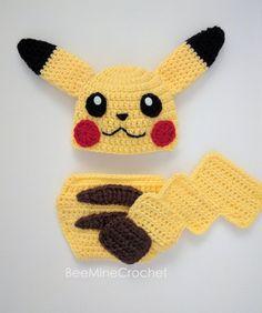 Pokémon Pikachu Crochet PATTERN (Newborn Outfit 0-3 months) from BeeMineCrochet
