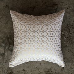 Gold Honeycomb Print Pattern Cushion (48cm). #placesandgraces #collection #gold #honeycomb #cushion Honeycomb, Interior Styling, Print Patterns, Cushions, Throw Pillows, Gold, Furniture, Vintage, Collection