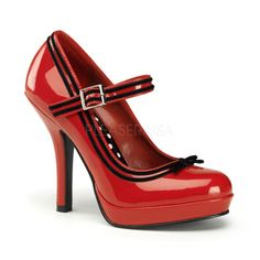 We carry these in our Studio. www.chicagopinupphotography.com  Pinup Couture Shoes Secret Original Mary Jane Red Heel Shoes