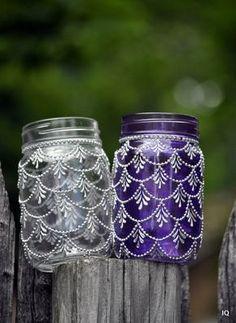 Bohemian Moroccan Mason Jar Tinted Lanterns Lighting Decorated With Henna…