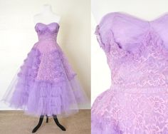 1950s Party Dress Lilac Purple Cupcake Style Lace and Tulle by YellowBeeVintage on Etsy https://www.etsy.com/listing/248681661/1950s-party-dress-lilac-purple-cupcake