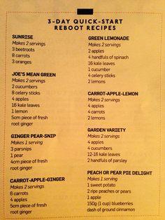 Reboot juice recipes.