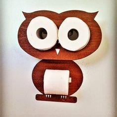 Owl - Funny set for toilet - serves as a toilet paper storage unite for two rolls and a toilet roll holder for one. Owl Bathroom, Toilette Design, Toilet Paper Storage, Wood Toilet Paper Holder, Toilet Roll Holder, Wood Veneer, Diy Woodworking, Decor Interior Design, Wood Crafts