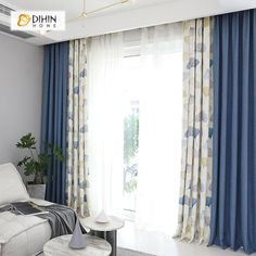 DIHIN HOME Leaves and Blue Printed, Blackout Grommet Window Curtain for living room, inches, 1 panel. Living Room Decor Curtains, Home Curtains, Living Room Windows, My Living Room, Window Curtains, Modern Curtains, Curtains With Sheers, Curtain Ideas For Living Room, Living Spaces