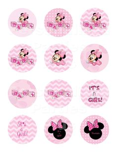 Pretty in pink Minnie Mouse baby shower cupcake toppers and wrappers come in shades of pink and have pink polka dots, pink chevron prints and pink Minnie Mouse jewels. Print as many as you need! (No printed materials will be shipped!) These are SIMPLE to make and make such a great impression! Just open file, print, cut!    ~~~~~~~~~~~~~~~~~~~~~~~~~~~~~~~~~~~  HOW TO MAKE CUPCAKE TOPPERS:  ~~~~~~~~~~~~~~~~~~~~~~~~~~~~~~~~~~~  Print these cupcake toppers on Avery 22807 labels attach to a…