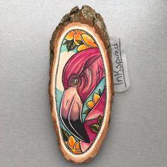 Wood slice with an original drawing of a flamingo door Inkspirednl