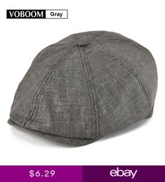 daa3b140b66 VOBOOM Mens Linen Gatsby Cap 8 Panel Newsboy Summer Hat Golf Flat Cabbie  Gray