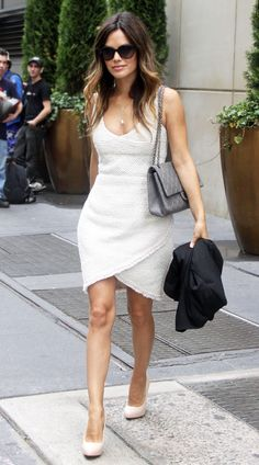 Rachel Bilson out in New York City.    What Rachel is wearing- Dress , Bag + Necklace: Chanel / Shoes: Brian Atwood